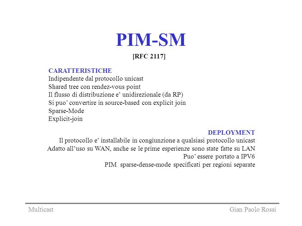 PIM-SM [RFC 2117] CARATTERISTICHE Indipendente dal protocollo unicast
